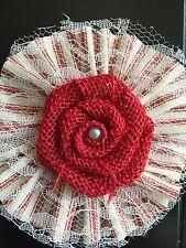 "4"" Burlap Lace Flower Red Stripe Valentine Christmas Wreath Ornament Rustic"