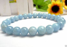 "8mm Light Blue Aquamarine Gemstone Round Beads elastic Bracelet 7.5"" AAA"