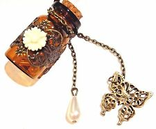 STEAMPUNK Filigree brass amber glass message-in-a-bottle necklace victorian E3
