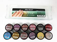 Mia Secret Nail Art Acrylic Professional Powder 12 Colors Set - GLITTER