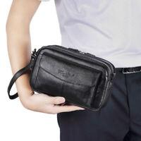 Men Leather Clutch Purse Wrist Bag Business Phone Wallet Coin Case Pouch Handbag