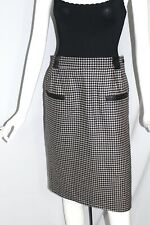 Yves Saint Laurent Grey Black Houndstooth Wool with Leather Trim Skirt Vintage