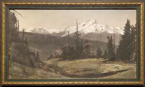 Rare 10x18 Asahel Curtis Hand Tinted Photo of Mt. Baker. Circa 1920's.