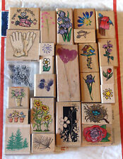 New and Used Rubber Stamp Assortment Lot of 25 Flower and Garden rubber stamps