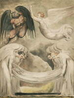 William Blake The Devil Rebuked Poster Reproduction Giclee Canvas Print