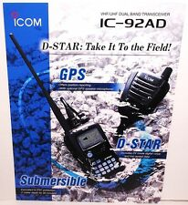 Original Color 4 Sided Brochure for ICOM IC-92AD VHF UHF D-STAR HT TRANSCEIVER