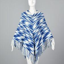 Blue White Poncho Autumn Bohemian Boho Separates Festival 1970s 70s VTG