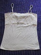 H&M Pretty cream lace panel strappy vest top VGC size M work casual