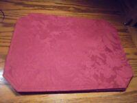 Set (6) Vintage Floral Damask Placemats Red Burgundy Octagon Shaped Decor  59