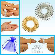 Lot de 2 anneaux massage doigt batonet énergie - Argent & Or