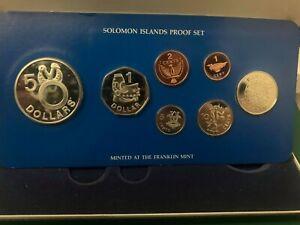 Solomon Islands COINS - 1977 7x Coin Proof Set + Box & COA - Franklin Mint