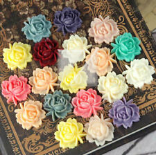 6/13pcs Resin Flower Cabochons Cameo Flatback Embellishments 18x17x8mm Peony