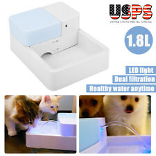 Automatic Pet Dog Cat Water Drinking Flower Fountain Led 1.8L Drink Filter Bowl