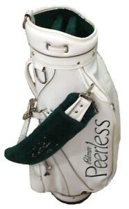 Vtg Palmer Peerless Hot Z White Leather Green Fur Golf Club Bag w/ Rain Hood USA