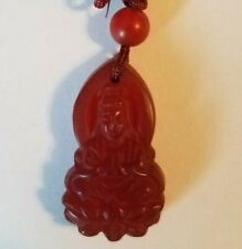 """Buddha GuanYin (Bodhisattva) Pendant Agate with bead. necklace is 30"""" adjustable"""