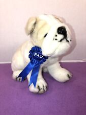 "VGUC-10"" FAO Schwarz  Blue Ribbon Plush Dog Pug - Tan and Black"