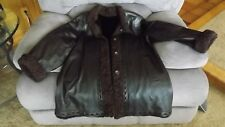 Authentic MINK & Brown Leather Winter Coat W/ Curly Lamb Trim Size M 10/12 NICE!