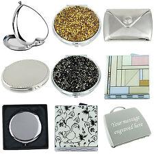 More details for personalised free engraving compact/handbag mirror ladies gift  wedding birthday