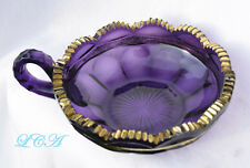 Antique DEEP PURPLE ornate AMETHYST GLASS candy dIsh or SUGAR BOWL w/ gold gilt