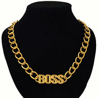 Celebrity Style Gold Statement LIKE A BOSS Chain Link Necklace UK