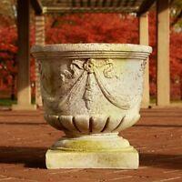 Grecian Round Pot Garden Planter by Orlandi Statuary Made of Fiberstone-FS7959