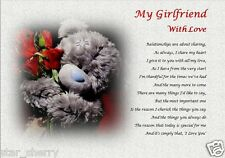 MY GIRLFRIEND WITH LOVE ( laminated gift) personalised poem