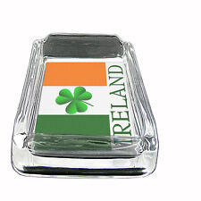 "Irish Glass Ashtray D6 4""x3"" Ireland Shamrock Lucky Clover Green Leprechaun"