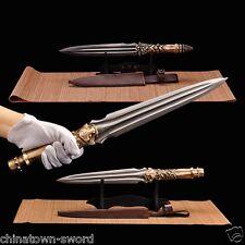 Dragon Tiger Dragon Overlord Spear pike sword pattern steel blade Spearhead#0032
