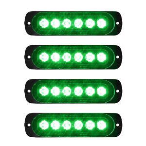 4x 6-LED Green Car Recovery Flashing Grille Beacon Warning Strobe Lights 12V-24V