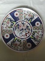 """Imari Style Wall Plaque Plate, Multi-color Flowers, 10 1/4"""" Made in Japan"""