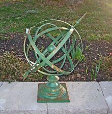 14�Diameter Iron Armillary Sphere/Sundial Rustic Antique Green