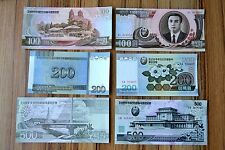 FREE SHIPPING KOREA SET 3 NOTES : 100+200+500 WON  UNC BANKNOTE CURRENCY
