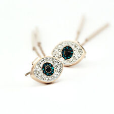 NEW 18K Rose Gold Plated Crystal Sapphire Evil Eye Bar Drop Dangle Stud Earrings