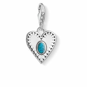 New Genuine Thomas Sabo Sterling Silver Turquoise in Heart Charm ref 1684 £49