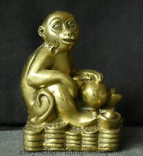 Chinois en laiton Fengshui Zodiaque Singe Animal Richesse Coin Statue Sculpture