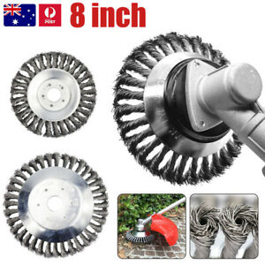 "8"" Weed Brush Steel Wire Trimmer Wheel Garden LawnMower Grass Cutter Head Tool"