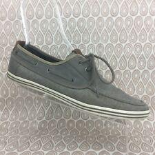 Aldo Men's Gray Canvas Casual Lace Up Rubber Sole Boat Shoes Size 13 EUR 46 S259