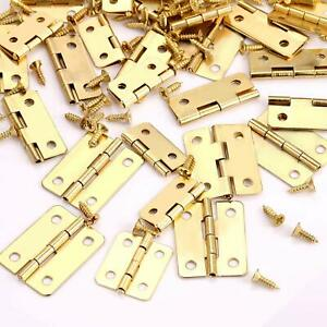 50pcs Brass Plated Mini Hinge Small Decorative Jewelry Box Hinges with Nails AU