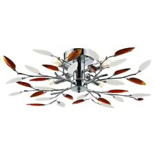 Modern Willow 4 Light Ceiling Light with Frosted Clear & Amber Leaves by Happ...