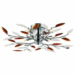 Modern Birch 4 Light Ceiling Light with Frosted Clear & Amber Leaves by Happy...