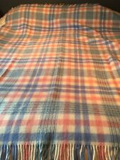 "VINTAGE  BLUE &  PINK & WHITE PLAID 100% WOOL BLANKET 62"" x 80"" FRINGED"
