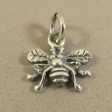 .925 Sterling Silver Small 3-D BEE CHARM Pendant Garden Insect NEW 925 GA50