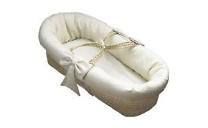 New BabyDoll Bedding Brand Pique Moses Basket In White Perfect Gift For New Baby