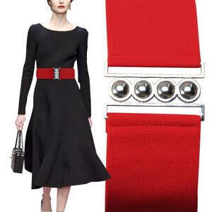 Ladies Women's Maggie Tang Fashion Elastic Woven Metal Buckle Waist Wide Belt