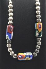 Sterling Silver Beaded Sphere Balls Cylinder Colorful Foil Glass Floral Necklace