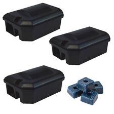 3 X PROFESSIONAL RODENT BAIT STATION BOX TRAP & 15 Bait Blocks Rat Mouse Mice