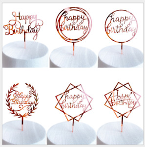 1pcs Rose Gold Happy Birthday Cake Topper Party Supply Event Decoration