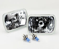 "7x6"" Halogen Semi Sealed H4 Clear Glass Headlight Conversion w/ Bulbs JEEP"
