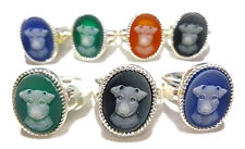 Puppy Jasperware Cameo 3D Oval Ring Old Store Stock Sterling Silver Dog