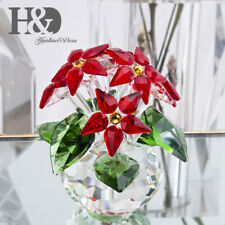 2019 Large Christmas Crystal Poinsettia Ornaments Flower Collectible Paperweight